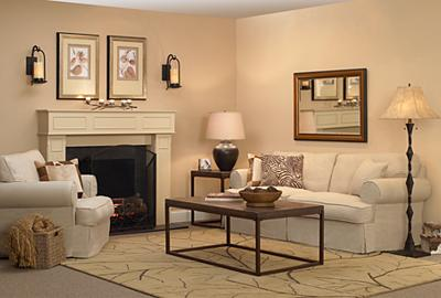 The living room image is very well balanced with many symmetrical elements.
