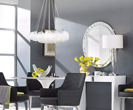this modern dining room shines with a dramatic cluster chandelier design - Contemporary Dining Room Light
