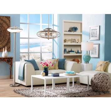 Relax with the warm vibe of this Coastal style family room.
