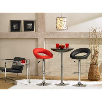The bar set mixes bold red and black hues to create a modern design.