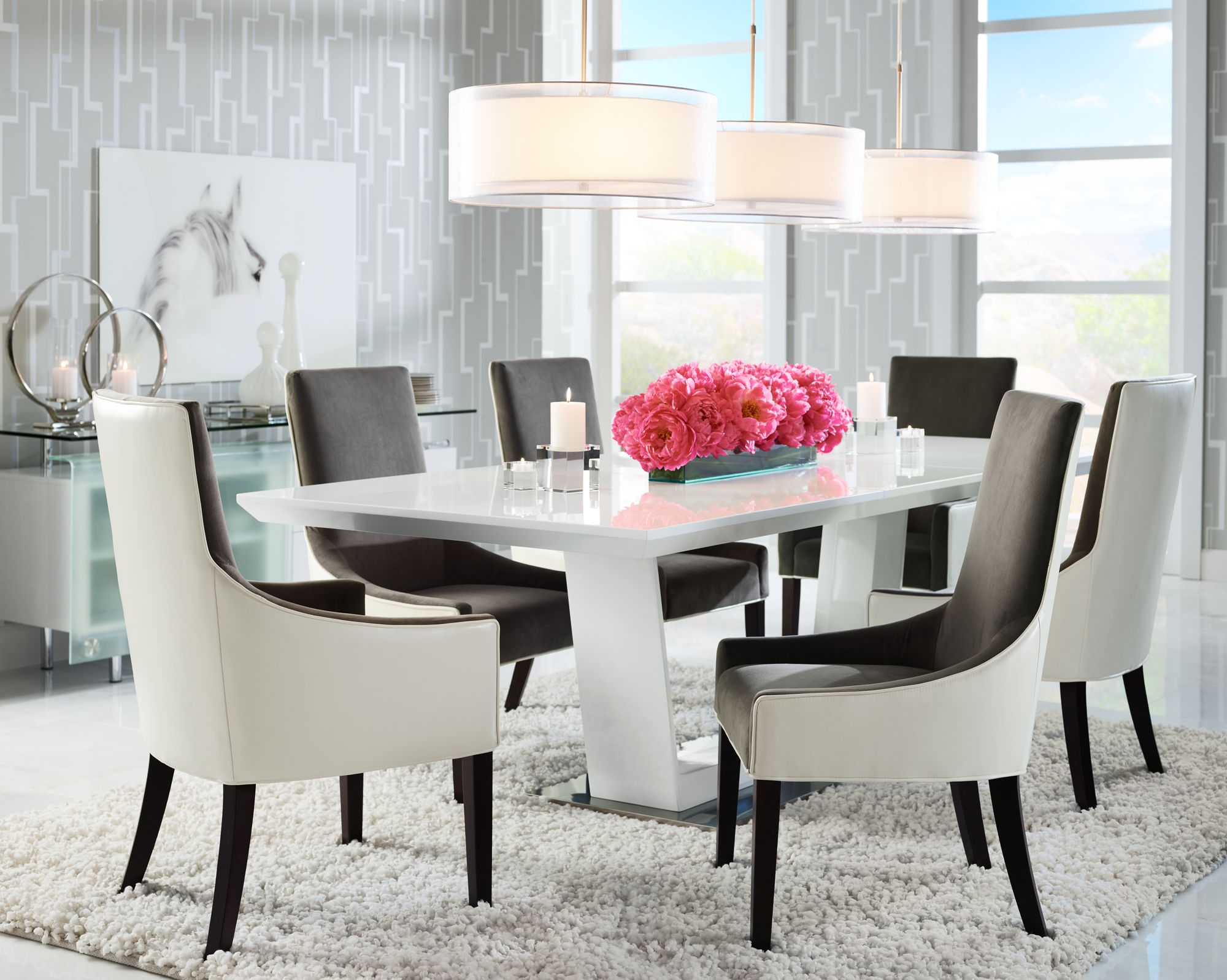 Perfect Large Drum Pendants Light A Long Dining Room Table.