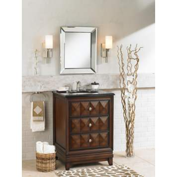 A stunning wood vanity takes center stage in a contemporary bathroom picture.