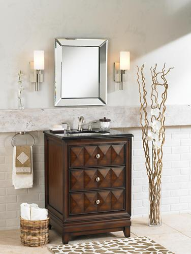 Contemporary wood bathroom vanity picture.