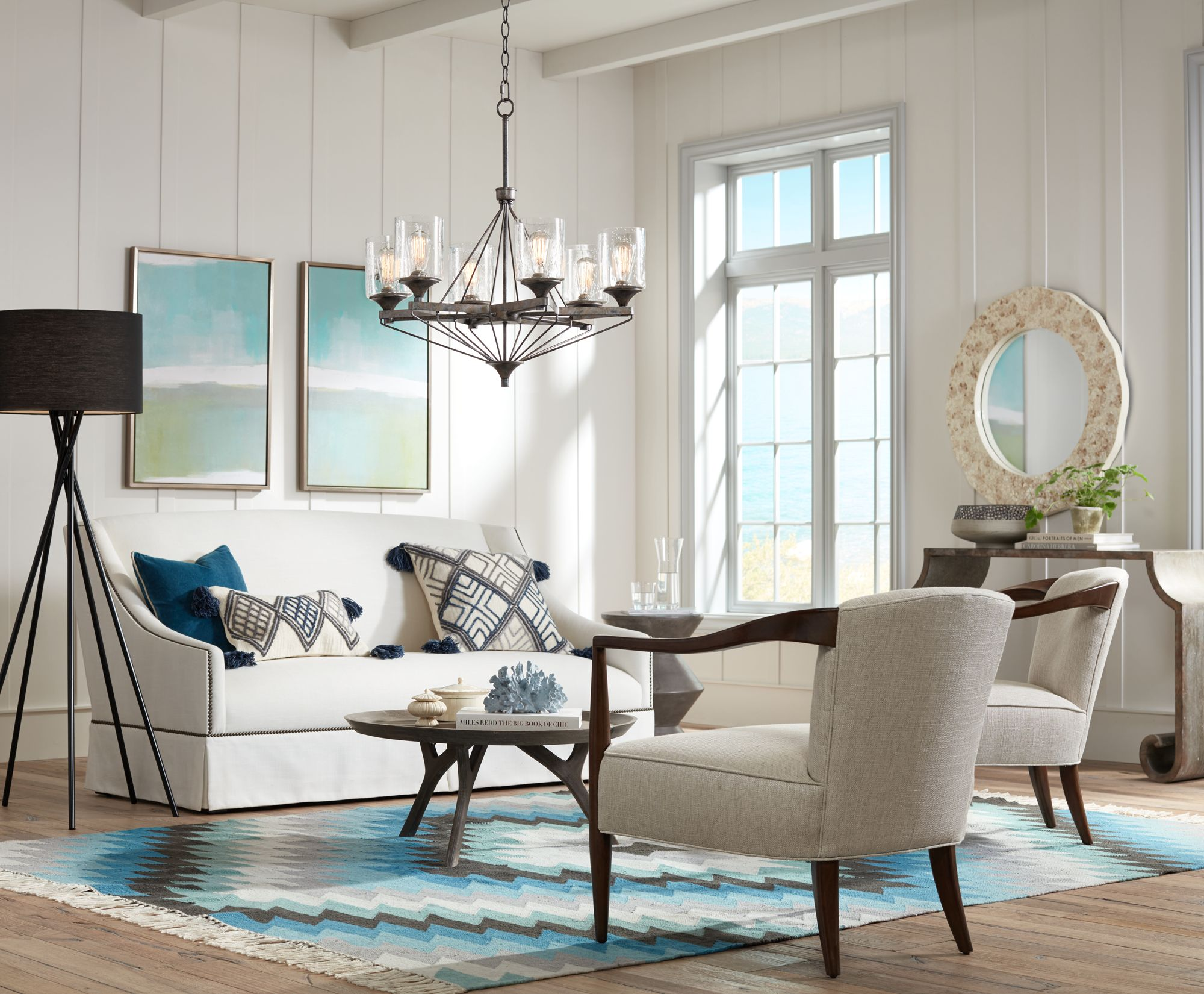 Pops Of Blue Add Color To This Mid Century Styled Living Room.