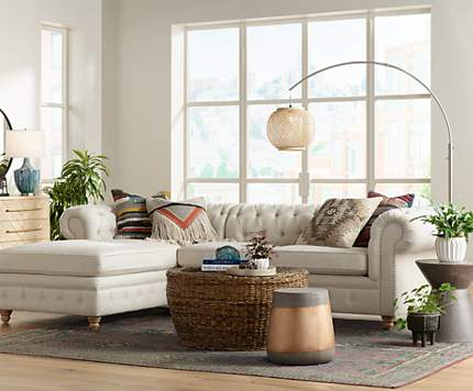 A Happy Holiday Living Room With Matching Linen Sofas