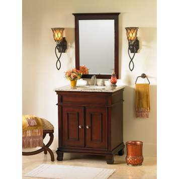 This traditional bathroom picture uses rich, warm colors.