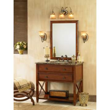 The traditional bathroom combines cherry wood finishes with warm neutrals.