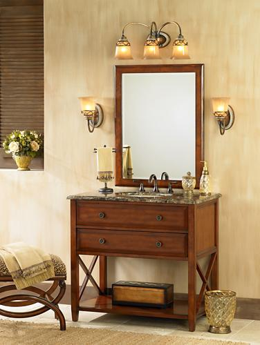 traditional bathroom, cherry wood finishes, vanity, mirror, upholstered ottoman