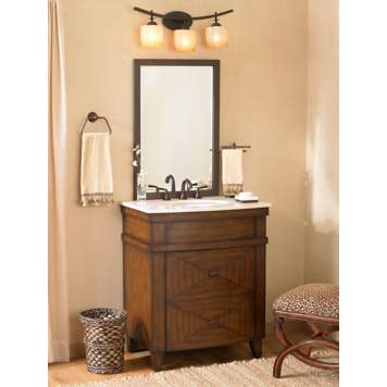 Adding warm woods and rich textures to a bathroom is a handsome decorating idea.