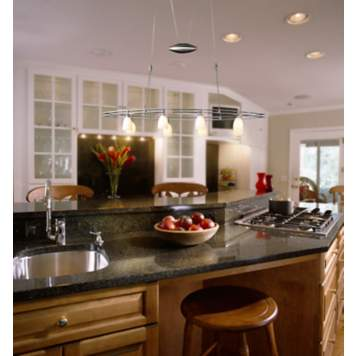 Add adjustable chandelier offers multi-use kitchen lighting.