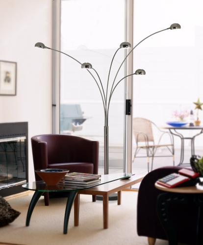 Add Visual Interest To A Living Room With Arc Floor Lamps