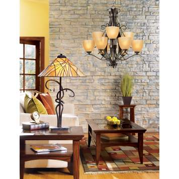 This mission style living room lighting picture is charming and rustic.