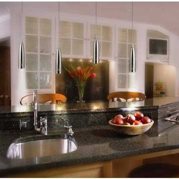 Polished granite & brushed steel are a chic combo in this contemporary kitchen.