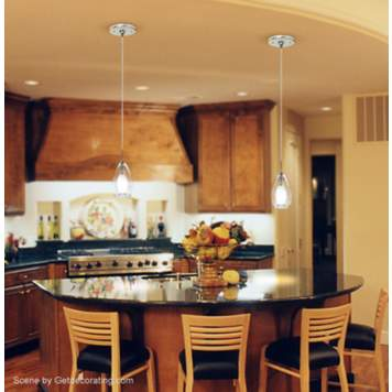 Sleek glass pendants add style to this contemporary kitchen picture.