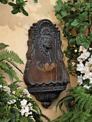 Lion Head Iron and Faux Stone Indoor Outdoor Fountain