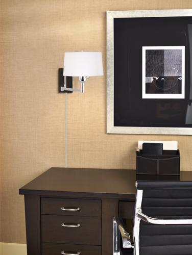 home office, desk, robert abbey, swing arm, wall lamp