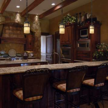 Brighten kitchen counter tops with pendant lighting.