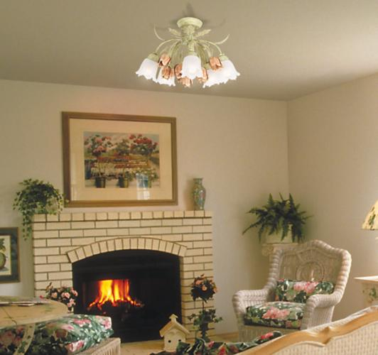 decorative ceiling light in a country cottage living room