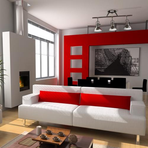 contemporary, living room, red accent wall, adjustable light fixture