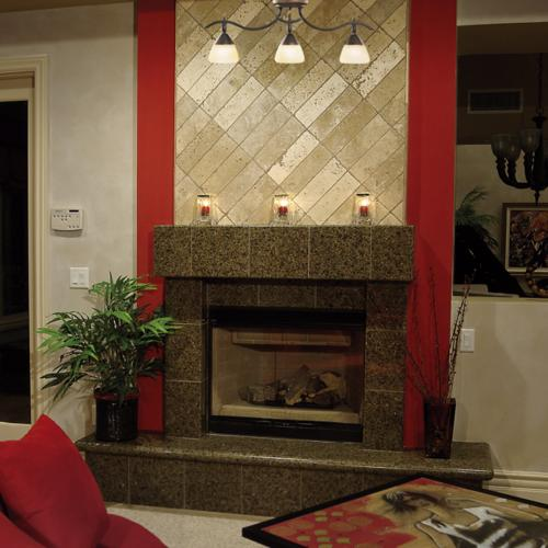 ceiling fixture, rail lights, kichler, fireplace