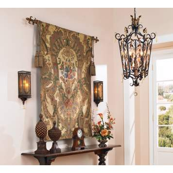 A traditional tapestry design looks elegant in an entry.