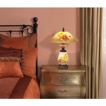Accent a traditional country cottage bedroom with a pretty floral lamp.