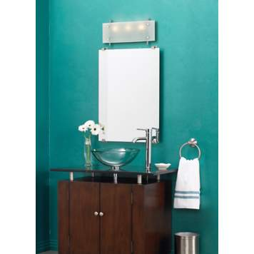 Go bold with color in a minimalist style contemporary bath.