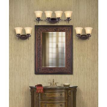 Textured wallpaper is a lavish traditional bathroom decorating idea.