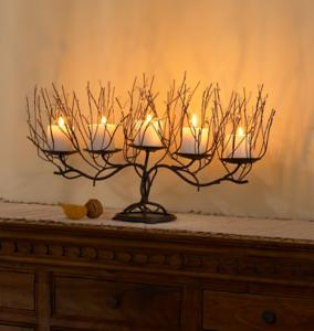 Twig and Beads Candelabra Candle Holder