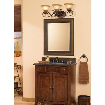 Rich colors and finishes give this transitional bathroom an old-world feel.