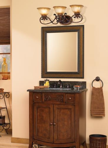 Transitional old-world bathroom decorating idea.