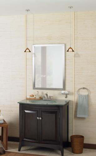 Vanity Hanging Lights : Twin hanging pendant lights illuminate a bathroom vanity. - Lighting & Decor by www.lampsplus.com