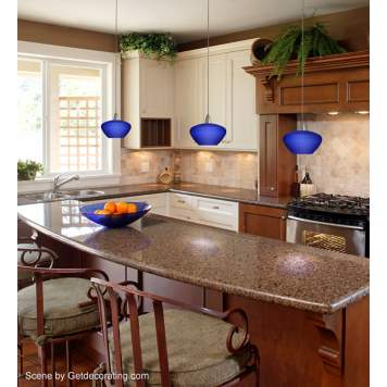 A traditional kitchen with bold Asian-inspired lighting.