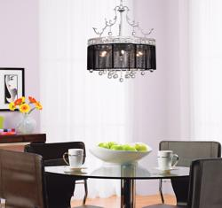 Crystal and Black Chandelier