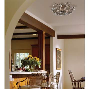 An organic ceiling light adds a decorative element in kitchen decor.