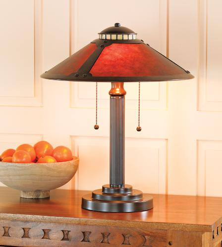 Mission style table lamp in a hallway.