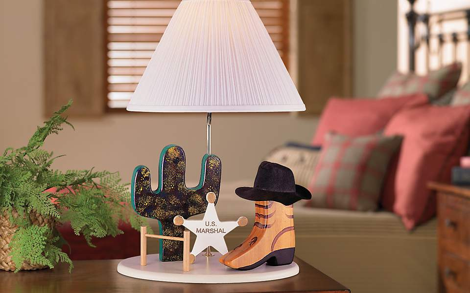 Craftsman style wood furniture, kids room, table lamp, cowboy, cowgirl
