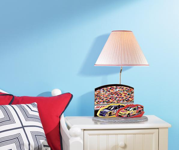 nascar table lamp, children's bedroom, kids bedroom, graphic pillows