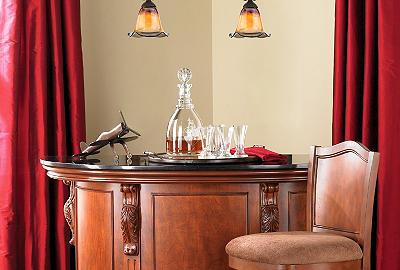 Home bar furniture and bar stools add style to an underused room corner.