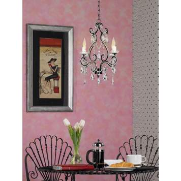 Perfectly Pink! This crystal chandelier adds a touch of French chic.