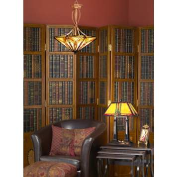 Accent a library nook in your living room with classic Mission style lighting.