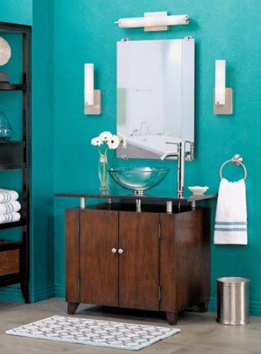 Bold color contemporary bathroom.