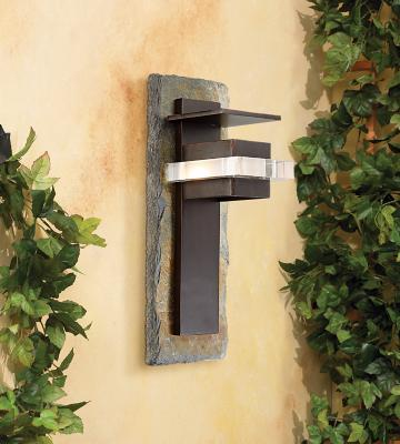 Angle View - Natural Slate and Bronze Outdoor Wall Light