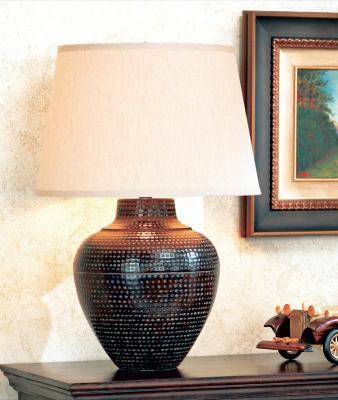 Hammered Metal Pot Table Lamp