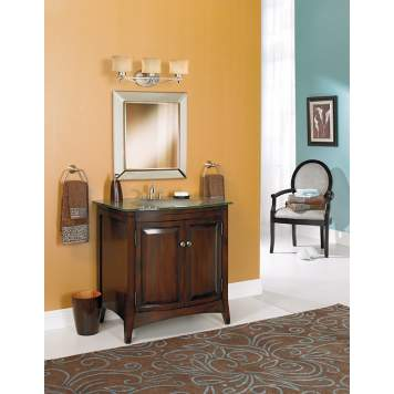 A bright accent wall creates a cheery transitional bathroom picture.