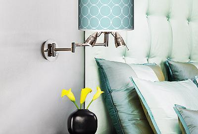 Aqua and chocolate brown is a soothing color combination for a bedroom.