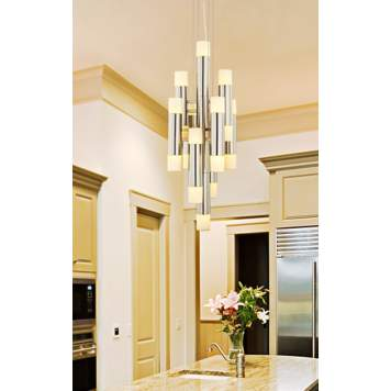 A brushed nickel and frosted glass chandelier is a sleek contemporary design.