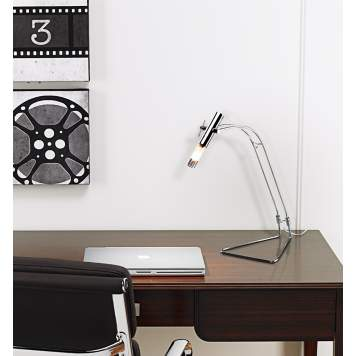 Accent a desk in an office or bedroom with a sleek, contemporary desk lamp.