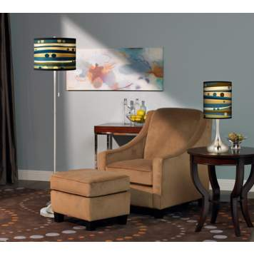The giclee lamps and rug add a fun dot pattern to the room scene.