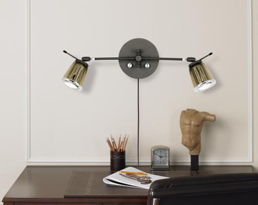 Bronze & Chrome Glass Double Halogen Plug-in Wall Light